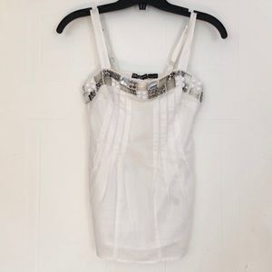 White Bejewelled Tank by Guess